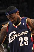 LeBron James of the Cleveland Cavaliers reacts during the game against the Orlando Magic in Game Six of the Eastern Conference Finals during the 2009...