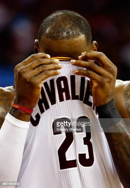LeBron James of the Cleveland Cavaliers reacts in the first half against the Boston Celtics during Game Four of the 2017 NBA Eastern Conference...
