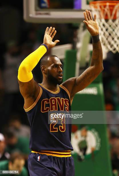 LeBron James of the Cleveland Cavaliers reacts in the first half against the Boston Celtics during Game Five of the 2017 NBA Eastern Conference...