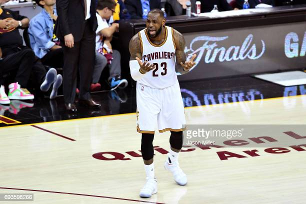 LeBron James of the Cleveland Cavaliers reacts in the first half against the Golden State Warriors in Game 3 of the 2017 NBA Finals at Quicken Loans...