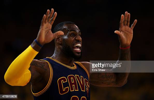 LeBron James of the Cleveland Cavaliers reacts in the first quarter against the Golden State Warriors during Game One of the 2015 NBA Finals at...