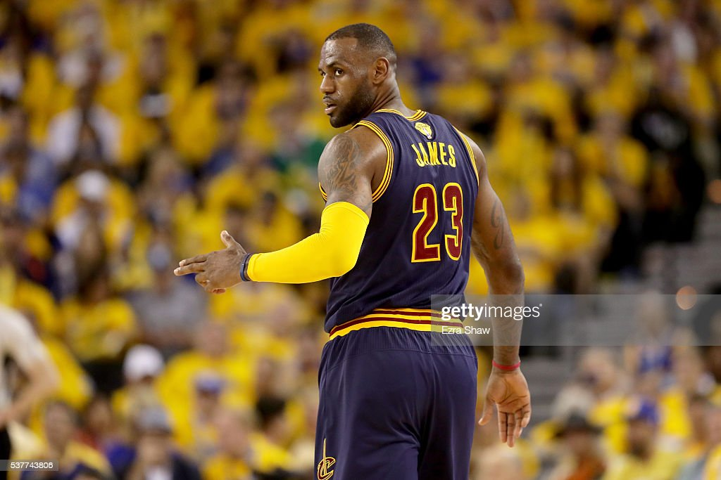 LeBron James #23 of the Cleveland Cavaliers reacts in the second half against the Golden State Warriors in Game 1 of the 2016 NBA Finals at ORACLE Arena on June 2, 2016 in Oakland, California.