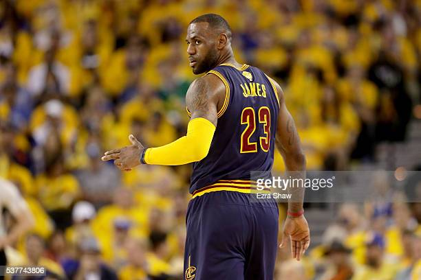 LeBron James of the Cleveland Cavaliers reacts in the second half against the Golden State Warriors in Game 1 of the 2016 NBA Finals at ORACLE Arena...