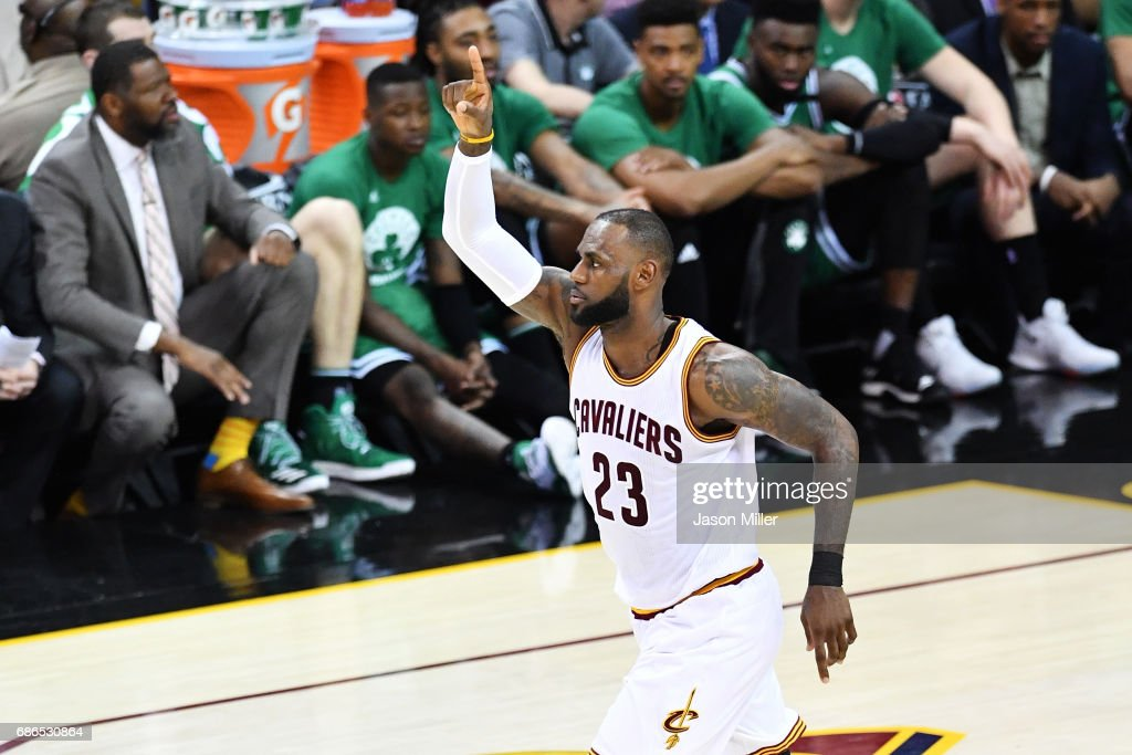 LeBron James #23 of the Cleveland Cavaliers reacts in the second quarter against the Boston Celtics during Game Three of the 2017 NBA Eastern Conference Finals at Quicken Loans Arena on May 21, 2017 in Cleveland, Ohio.