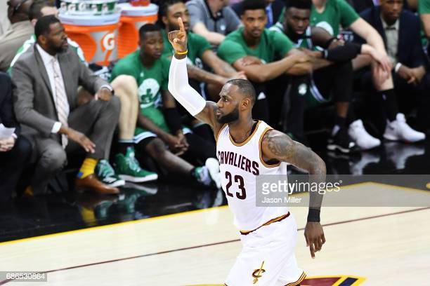 LeBron James of the Cleveland Cavaliers reacts in the second quarter against the Boston Celtics during Game Three of the 2017 NBA Eastern Conference...