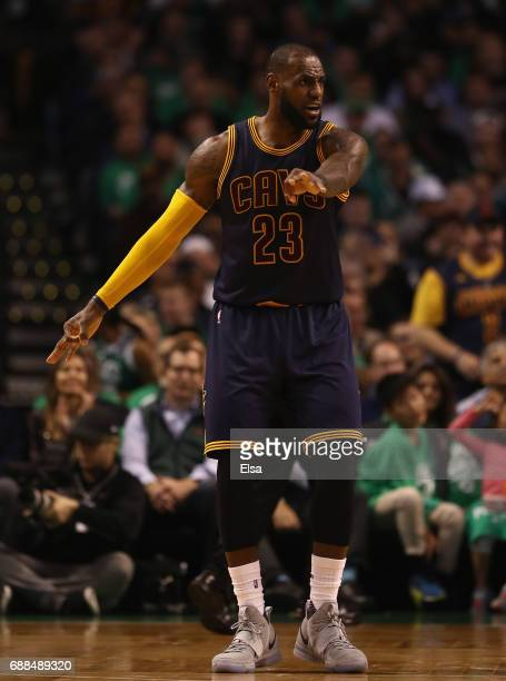 LeBron James of the Cleveland Cavaliers reacts in the third quarter against the Boston Celtics during Game Five of the 2017 NBA Eastern Conference...