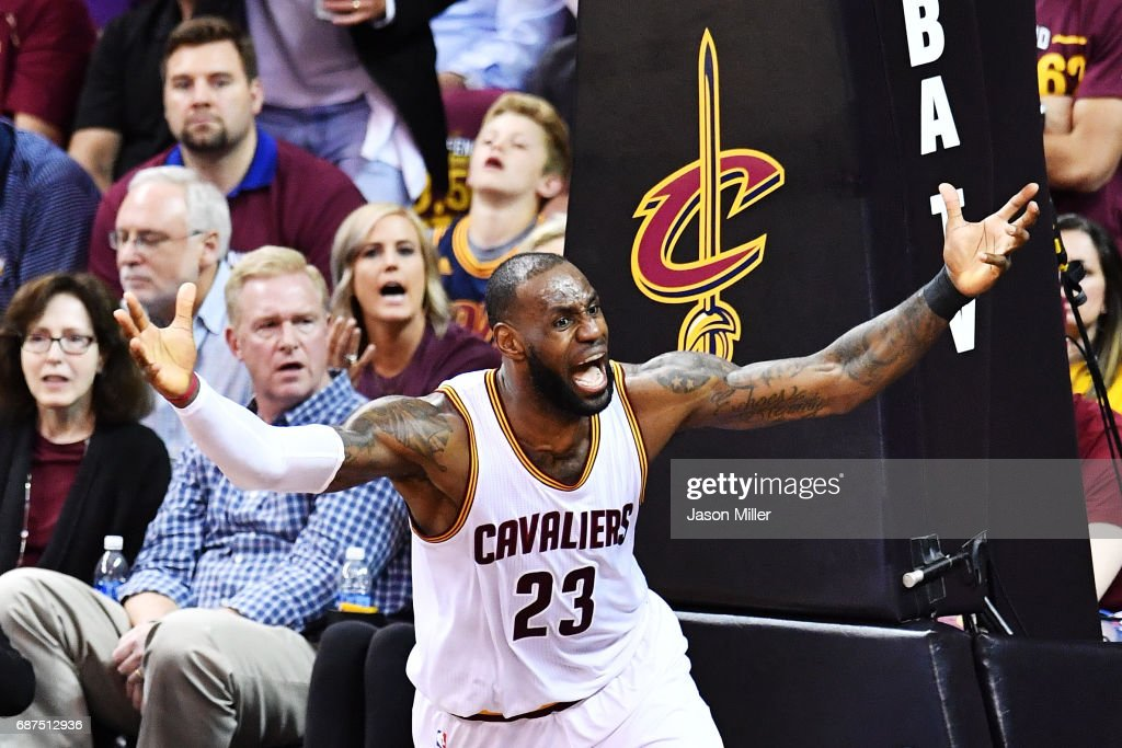 LeBron James #23 of the Cleveland Cavaliers reacts to a call in the fourth quarter against the Boston Celtics during Game Four of the 2017 NBA Eastern Conference Finals at Quicken Loans Arena on May 23, 2017 in Cleveland, Ohio.