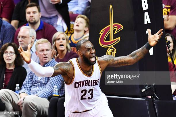 LeBron James of the Cleveland Cavaliers reacts to a call in the fourth quarter against the Boston Celtics during Game Four of the 2017 NBA Eastern...
