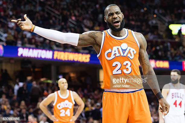 LeBron James of the Cleveland Cavaliers reacts to a foul call during the second half against the Chicago Bulls at Quicken Loans Arena on January 4...