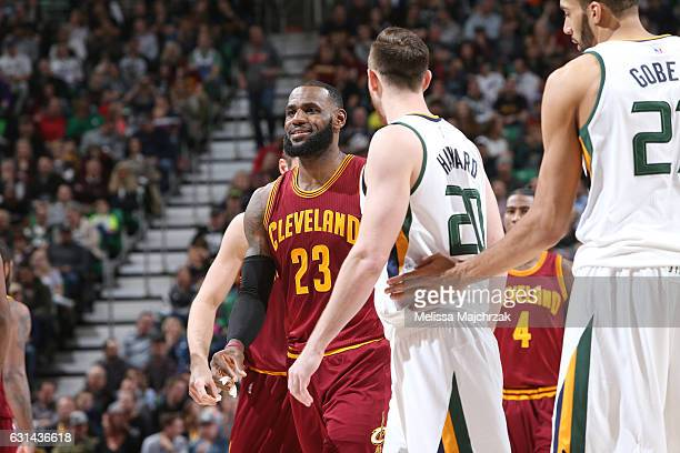 LeBron James of the Cleveland Cavaliers reacts to a play against the Utah Jazz during the game on January 10 2017 at vivintSmartHome Arena in Salt...