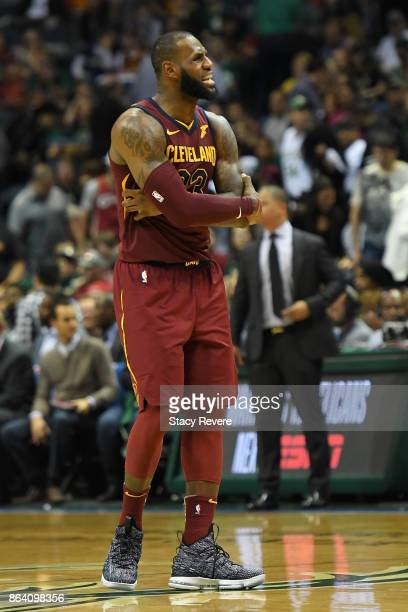 LeBron James of the Cleveland Cavaliers reacts to an officials call during the second half of a game against the Milwaukee Bucks at the Bradley...