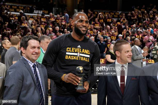 LeBron James of the Cleveland Cavaliers receives the 201617 J Walter Kennedy Citizenship Award prior to Game Three of the Eastern Conference Finals...