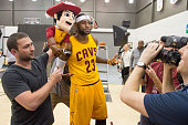 LeBron James of the Cleveland Cavaliers records a promotional video for the team during media day at Cleveland Clinic Courts on September 26 2014 in...