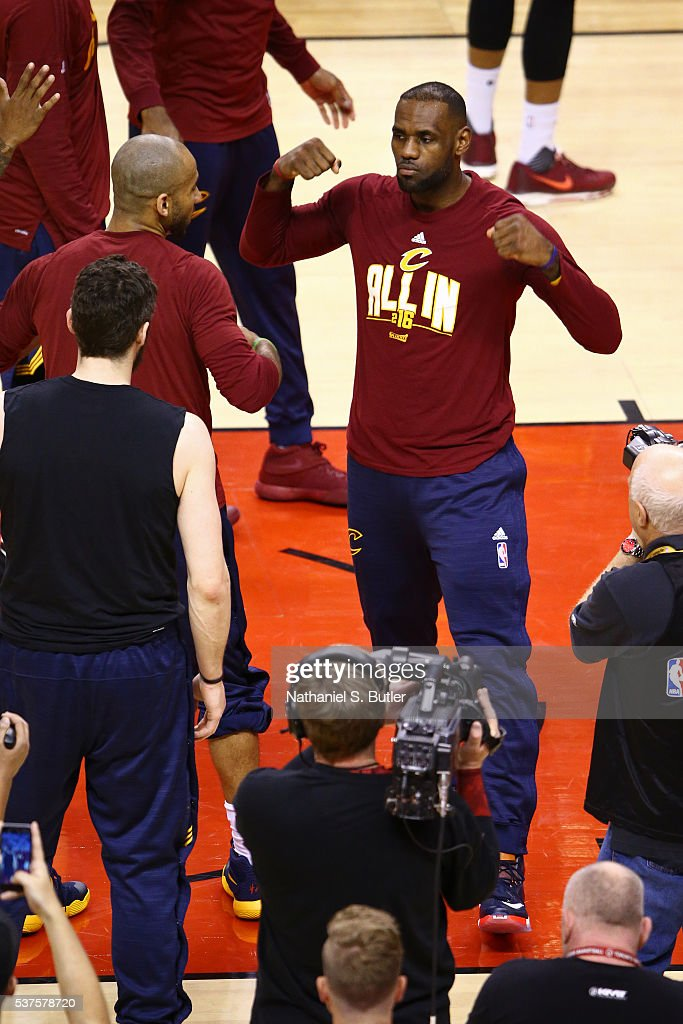 LeBron James of the Cleveland Cavaliers runs out before Game Six of the NBA Eastern Conference Finals against the Toronto Raptors at Air Canada...