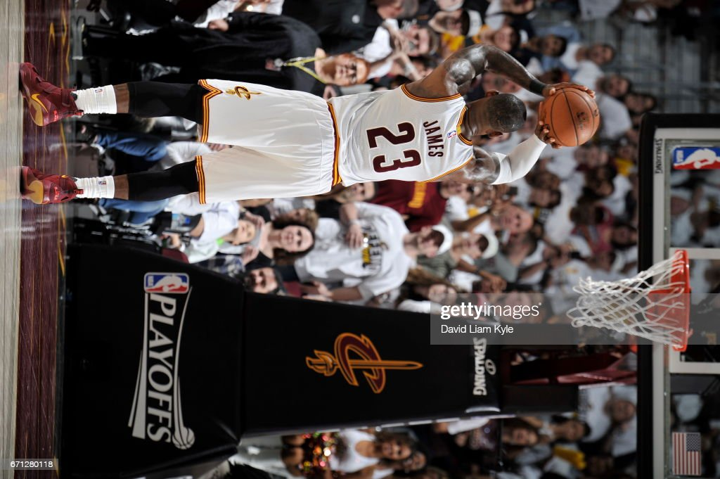 LeBron James #23 of the Cleveland Cavaliers shoots a free throw against the Indiana Pacers in Round One of the Eastern Conference Playoffs during the 2017 NBA Playoffs on April 15, 2017 at Quicken Loans Arena in Cleveland, Ohio.
