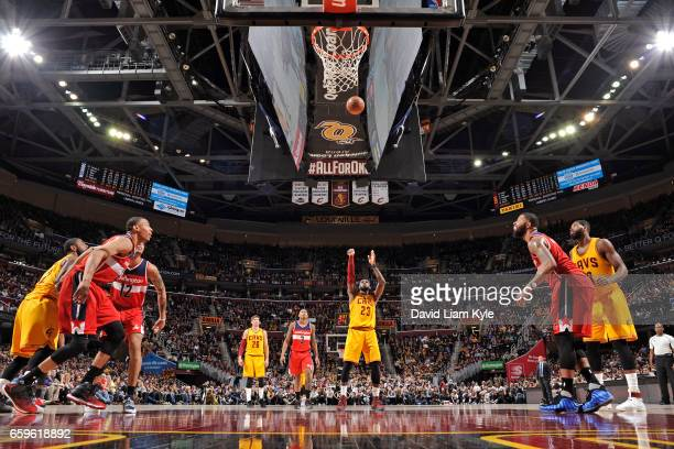 LeBron James of the Cleveland Cavaliers shoots a free throw during a game against the Washington Wizards on March 25 2017 at Quicken Loans Arena in...