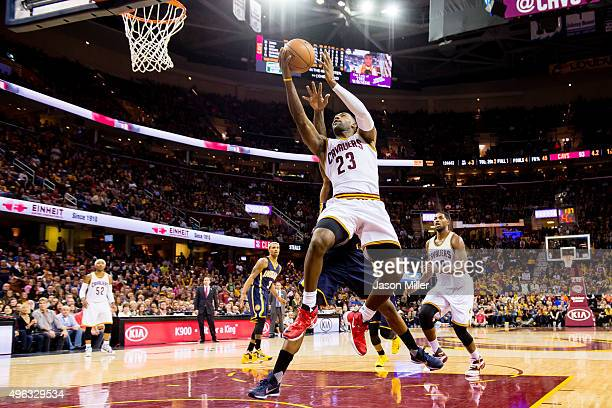 LeBron James of the Cleveland Cavaliers shoots a layup during the second half against the Indiana Pacers at Quicken Loans Arena on November 8 2015 in...