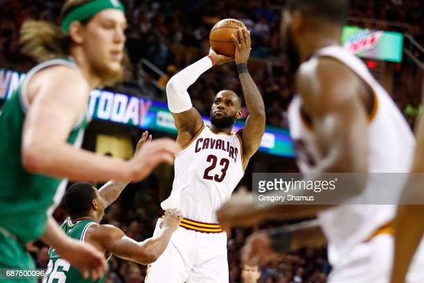 LeBron James of the Cleveland Cavaliers shoots against the Boston Celtics in the third quarter during Game Four of the 2017 NBA Eastern Conference...
