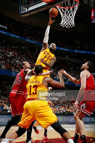 LeBron James of the Cleveland Cavaliers shoots against the Chicago Bulls during Game Two of the Eastern Conference Semifinals during the NBA Playoffs...