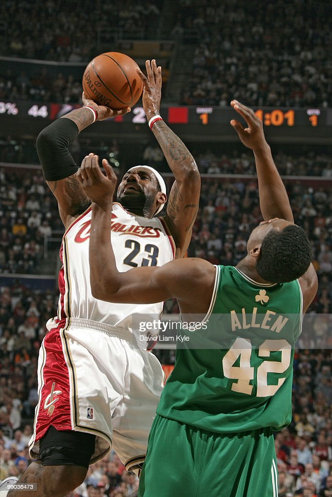 LeBron James #23 of the Cleveland Cavaliers shoots over Tony Allen #42 of the Boston Celtics in Game Five of the Eastern Conference Semifinals during the 2010 NBA Playoffs at The Quicken Loans Arena on May 11, 2010 in Cleveland, Ohio.