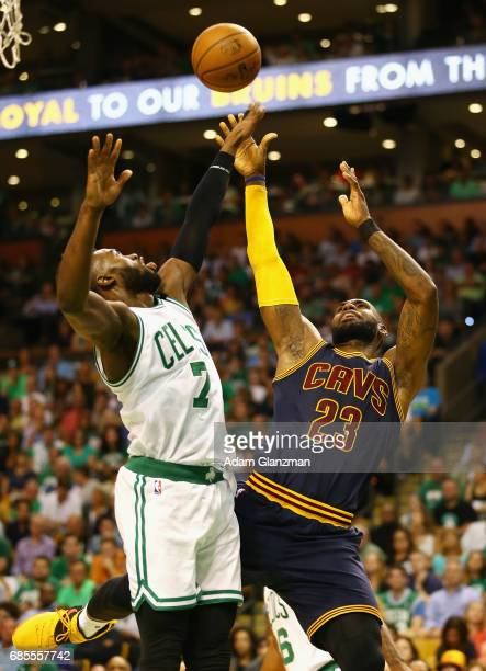LeBron James of the Cleveland Cavaliers shoots the ball against Jaylen Brown of the Boston Celtics in the first half during Game Two of the 2017 NBA...