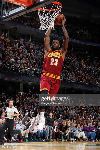 LeBron James of the Cleveland Cavaliers shoots the ball against the Oklahoma City Thunder on December 17 2015 at Quicken Loans Arena in Cleveland...