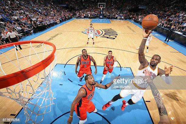 LeBron James of the Cleveland Cavaliers shoots the ball against the Oklahoma City Thunder on February 21 2016 at Chesapeake Energy Arena in Oklahoma...