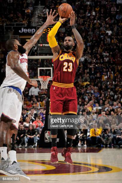 LeBron James of the Cleveland Cavaliers shoots the ball against the New York Knicks on February 23 2017 at Quicken Loans Arena in Cleveland Ohio NOTE...