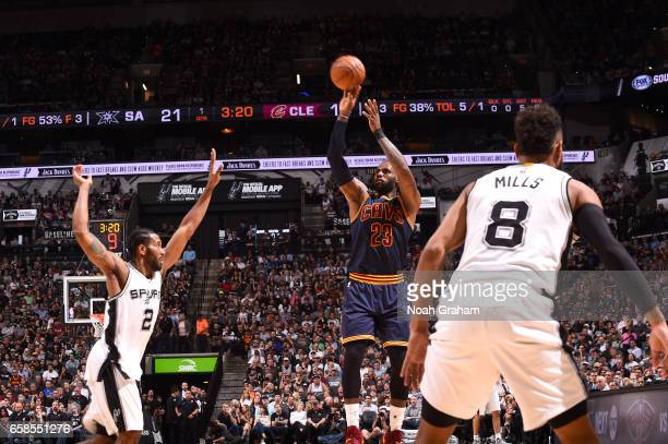 LeBron James of the Cleveland Cavaliers shoots the ball against the San Antonio Spurs on March 27 2017 at the ATT Center in San Antonio Texas NOTE TO...