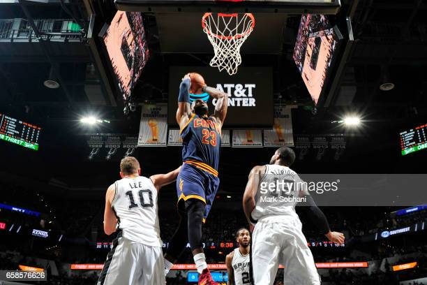 LeBron James of the Cleveland Cavaliers shoots the ball against the San Antonio Spurs during the game on March 27 2017 at the ATT Center in San...