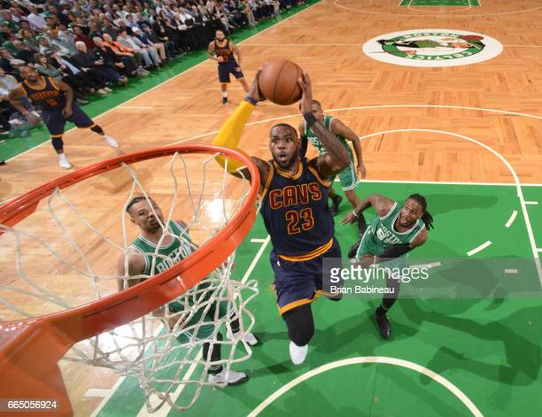 LeBron James of the Cleveland Cavaliers shoots the ball against the Boston Celtics during the game on April 5 2017 at the TD Garden in Boston...