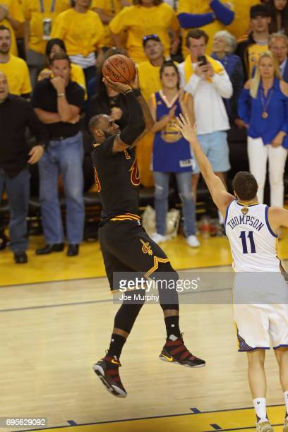 LeBron James of the Cleveland Cavaliers shoots the ball against the Golden State Warriors in Game Five of the 2017 NBA Finals on June 12 2017 at...