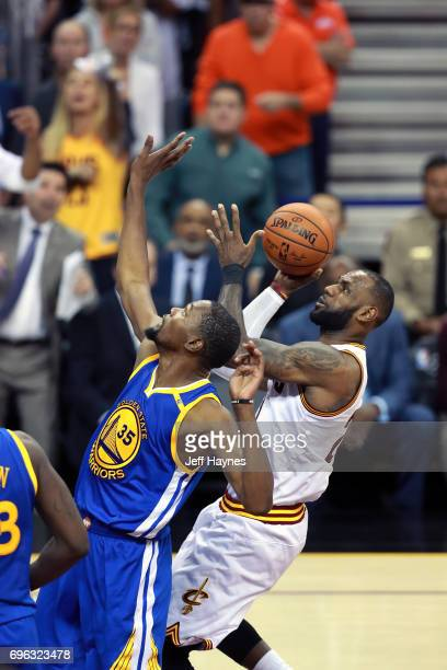 LeBron James of the Cleveland Cavaliers shoots the ball against the Golden State Warriors in Game Four of the 2017 NBA Finals on June 9 2017 at...
