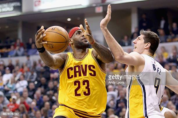 LeBron James of the Cleveland Cavaliers shoots the ball during the game against the Indiana Pacers at Bankers Life Fieldhouse on February 6 2015 in...