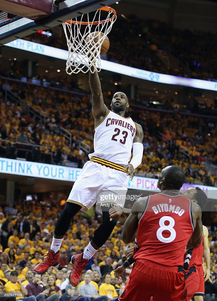 LeBron James #23 of the Cleveland Cavaliers shoots the ball during the second half against the Toronto Raptors in game two of the Eastern Conference Finals during the 2016 NBA Playoffs at Quicken Loans Arena on May 19, 2016 in Cleveland, Ohio.