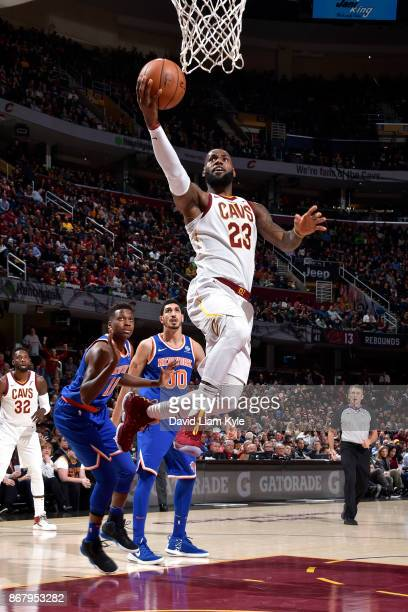 LeBron James of the Cleveland Cavaliers shoots the ball during the game against the New York Knicks on October 29 2017 at Quicken Loans Arena in...