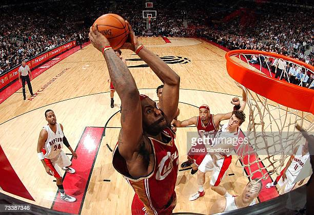 LeBron James of the Cleveland Cavaliers slams dunks the ball against the Toronto Raptors on February 21 2007 at the Air Canada Centre in Toronto...