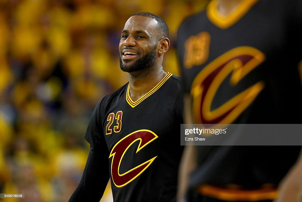 LeBron James of the Cleveland Cavaliers smiles during the fourth quarter against the Golden State Warriors in Game 5 of the 2016 NBA Finals at ORACLE...