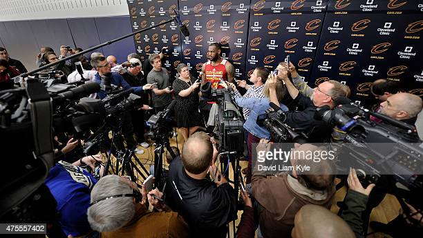 LeBron James of the Cleveland Cavaliers speaks to the media during practice days before the first game of the 2015 NBA Finals at The Cleveland Clinic...