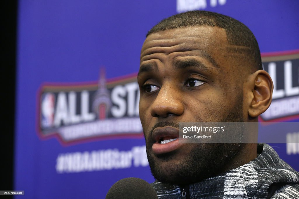 LeBron James #23 of the Cleveland Cavaliers speaks to the media during media availability as part of 2016 NBA All-Star Weekend at the Sheraton Centre Toronto Hotel on February 12, 2016 in Toronto, Ontario, Canada.