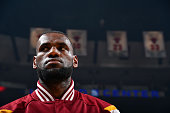 LeBron James of the Cleveland Cavaliers stands for the national anthem before a game against the Chicago Bulls in Game Six of the Eastern Conference...