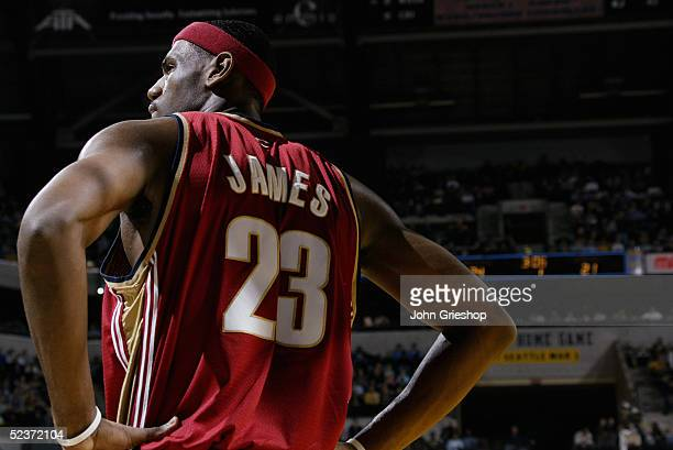 LeBron James of the Cleveland Cavaliers stands on the court during the game against the Indiana Pacers on February 25 2005 at Conseco Fieldhouse in...