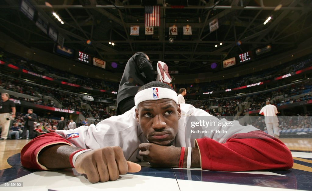 LeBron James #23 of the Cleveland Cavaliers stretches prior to the game against the Denver Nuggets on December 15, 2005 at the Quicken Loans Arena in Cleveland, Ohio.