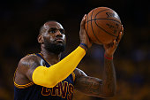 LeBron James of the Cleveland Cavaliers takes a free throw during Game One of the 2015 NBA Finals against the Golden State Warriors at ORACLE Arena...