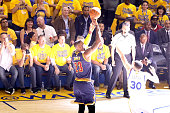LeBron James of the Cleveland Cavaliers takes a shot against Stephen Curry of the Golden State Warriors in Game 2 of the 2016 NBA Finals at ORACLE...