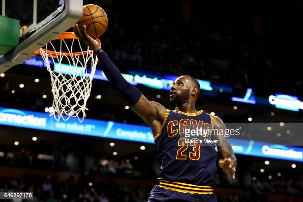 LeBron James of the Cleveland Cavaliers takes a shot against the Boston Celtics during the first quarter at TD Garden on March 1 2017 in Boston...
