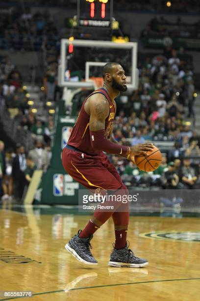 LeBron James of the Cleveland Cavaliers takes a shot during a game against the Milwaukee Bucks at the Bradley Center on October 20 2017 in Milwaukee...