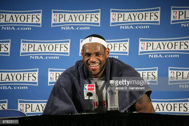 LeBron James of the Cleveland Cavaliers talks after the game against the Detroit Pistons in game four of the Eastern Conference Semifinals during the...