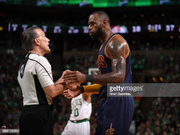 LeBron James of the Cleveland Cavaliers talks to Ken Mauer during the game against the Boston Celtics in Game Five of the Eastern Conference Finals...