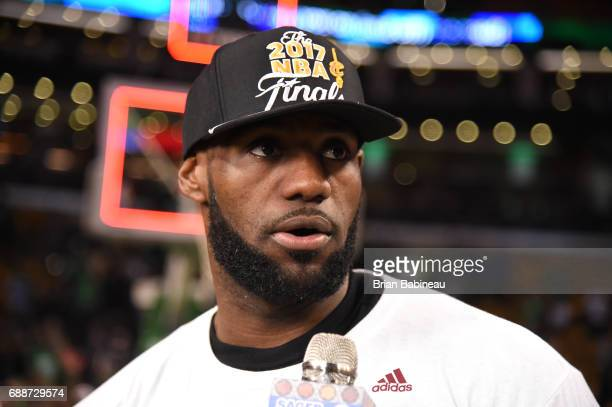 LeBron James of the Cleveland Cavaliers talks to the media after defeating the Boston Celtics in Game Five of the Eastern Conference Finals of the...